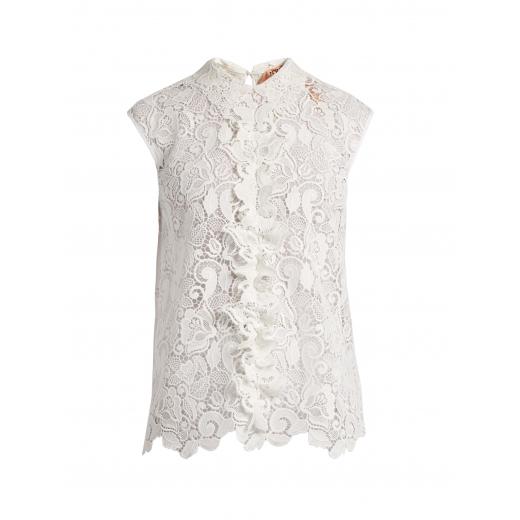 No. 21 bluzka biała, haftowana, gipiura nowa 34/36