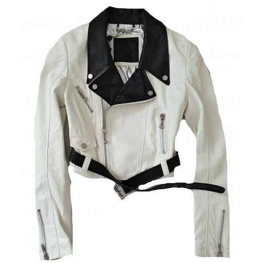 Philipp Plein Biker Jacket skóra naturalna, nowy M