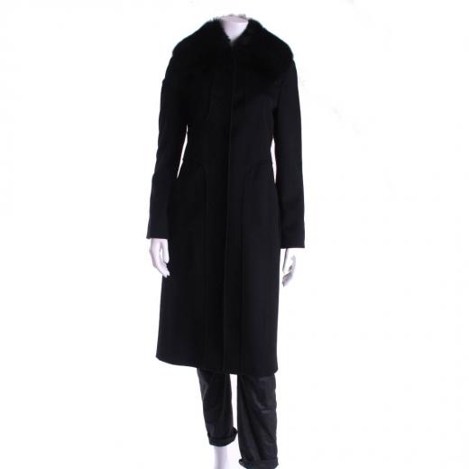 MaxMara płaszcz czarny z futrzanym kołnierzem