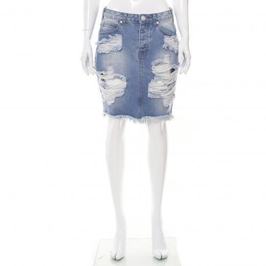 Jeansowa spódnica z dziurami