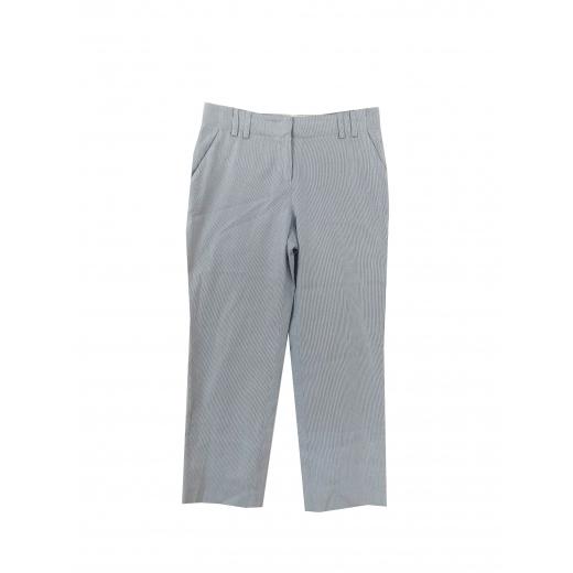 Bawełnianie spodnie 3/4 w niebieskie prążki