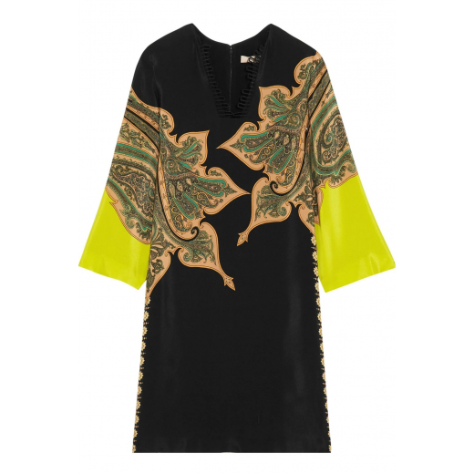Etro Black Printed Crepe De Chine Tunic Dress, M-L