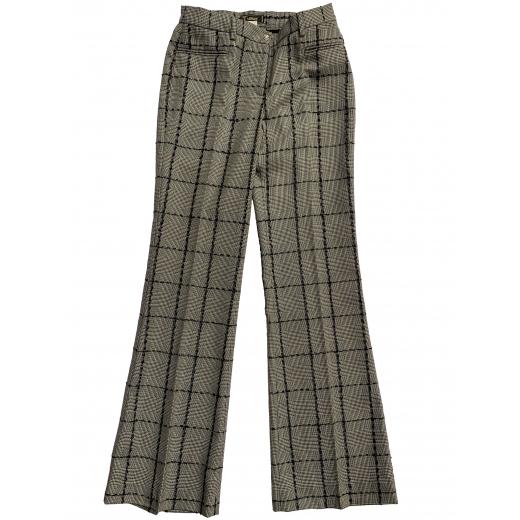 VERSACE spodnie z wełny i skóry