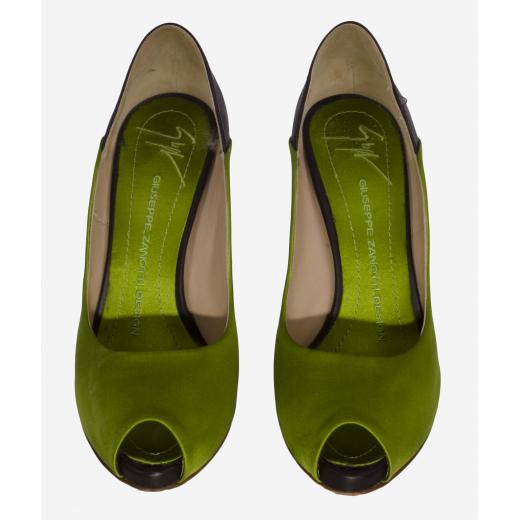 Giuseppe Zanotti szpilki satynowe zielone