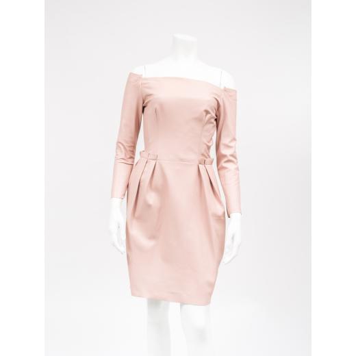 Skórzana sukienka pudrowy róż