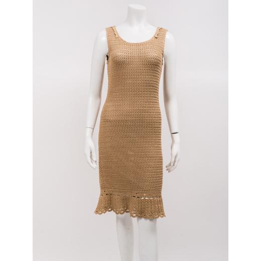 Prada sukienka bezowa szydelkowa