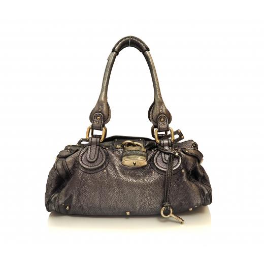 Chloe Paddington Bag srebrny metalik ponadczasowa torebka