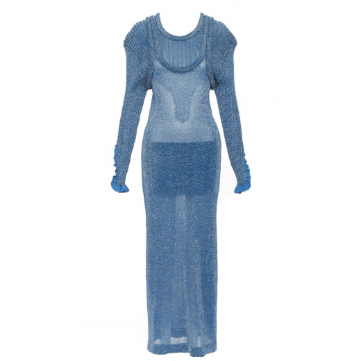 CHLOE Runway blue lurex shimmer maxi dress