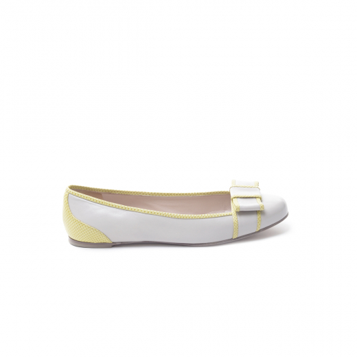 Baletki biało/beżowe żółto z kokardką