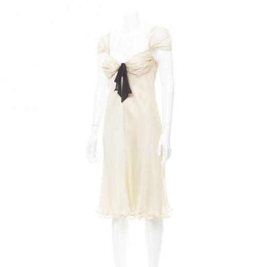 Sukienka biała/beż z kokardką