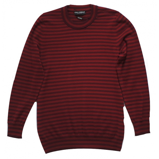 Dolce Gabbana Red Striped Cashmere Sweater S-M