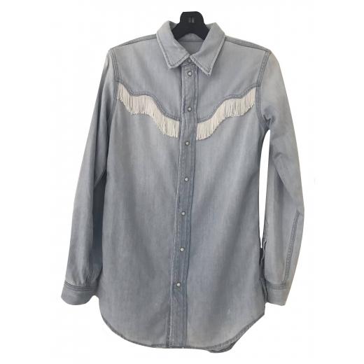 Dżinsowa koszula Ganni z frędzlami S