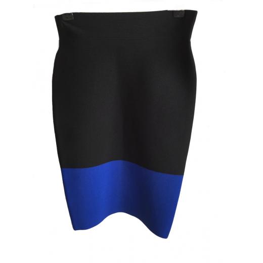 Spódnica czarna z niebieskim pasem