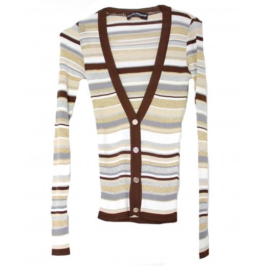 Dolce & Gabbana Striped Lurex Cardigan