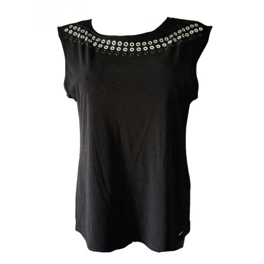 Calvin Klein czarna bluzka z kółkami