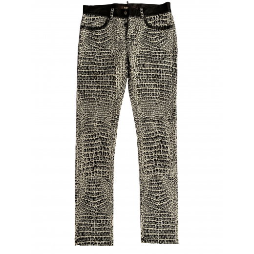 Jeansy z bawełny i skóry