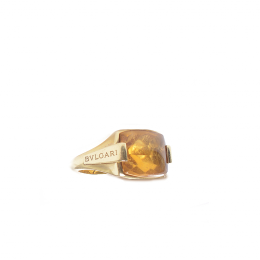 GOLD CITRINE RECTANGLE RING