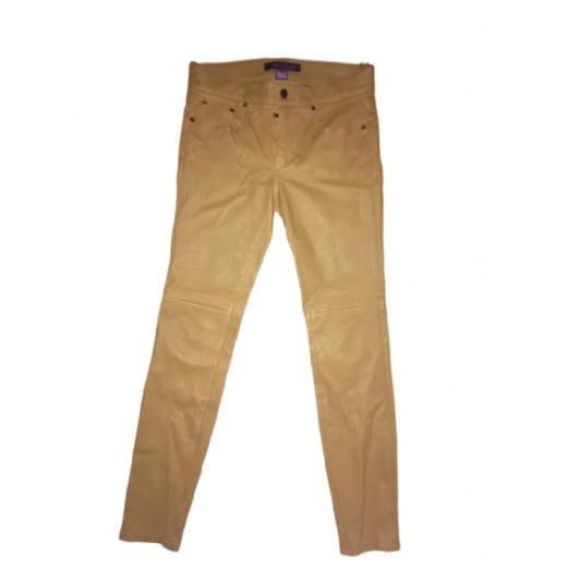 Spodnie Ralph Lauren skóra naturalna