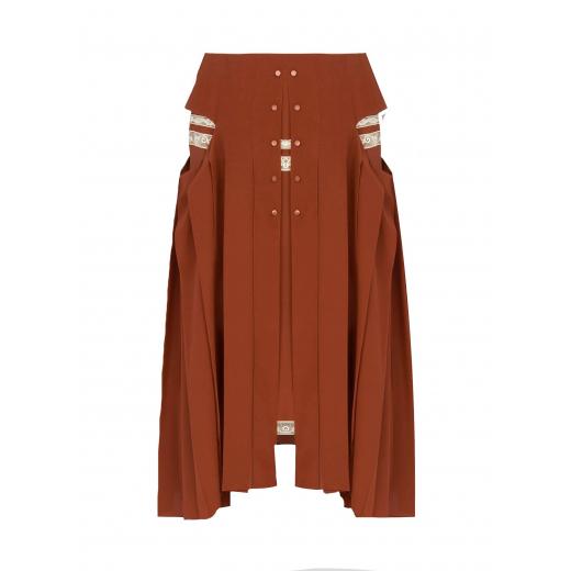 Chloe Knee-length pleated skirt in crêpe de chine