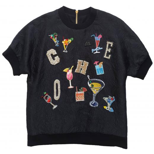 Dolce Gabbana brocade cocktail crystal sweater M-L