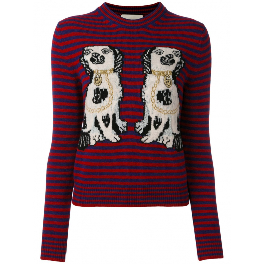 Gucci King Charles Spaniel Intarsia Sweater