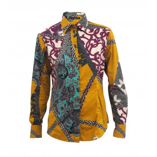 Klasyczna bawełniana koszula z orientalnym wzorem