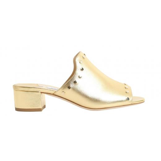Jimmy Choo klapki Myla metaliczno złote, nowe