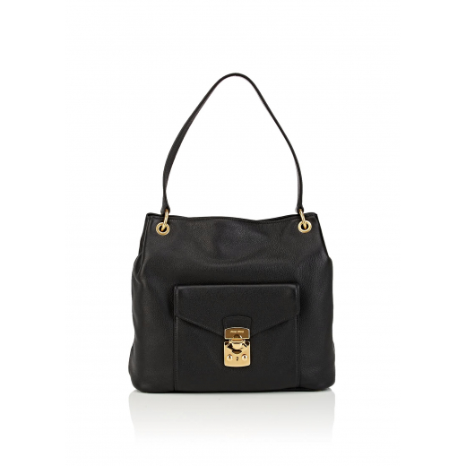 Miu Miu Black Leather Hobo Bag , nowa