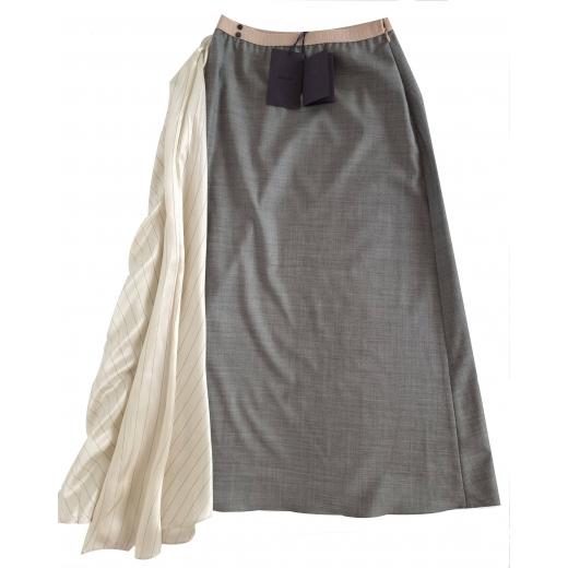 PRADA satin-paneled silk and wool skirt