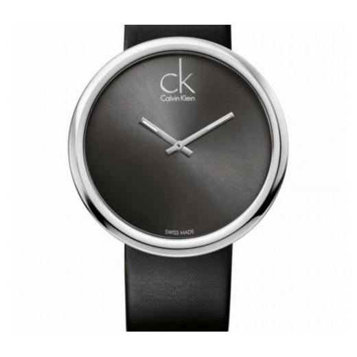 Calvin Klein zegarek czarny duża tarcza skórzany pasek 45 mm Subtle