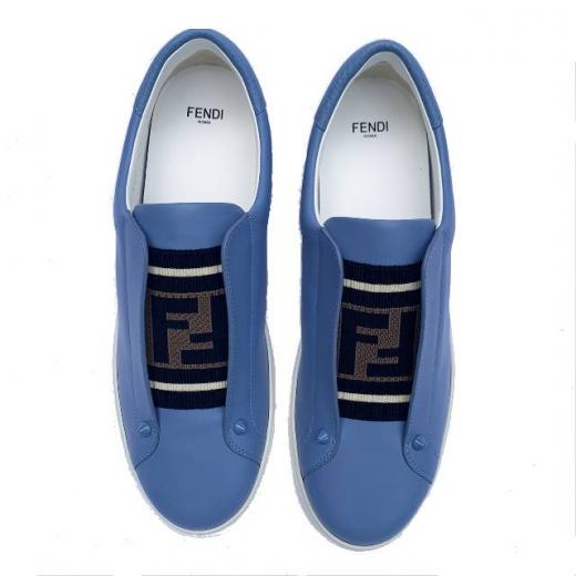 FENDI – niebieskie skórzane sportowe buty