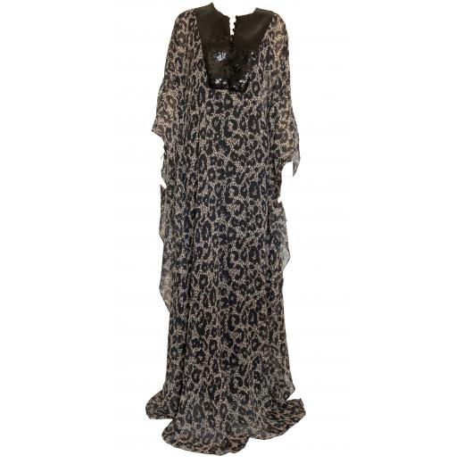Maxi sukienka - kaftan we wzór animalier
