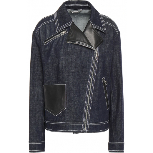 VERSACE Leather-trimmed denim jacket nowa 36-38