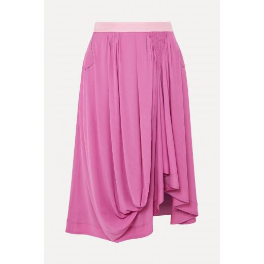 CHLOE Asymmetric satin-jersey midi skirt nowa