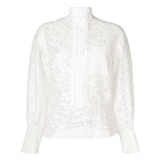 CHLOE Embroidered Lace Cotton-Blend Blouse