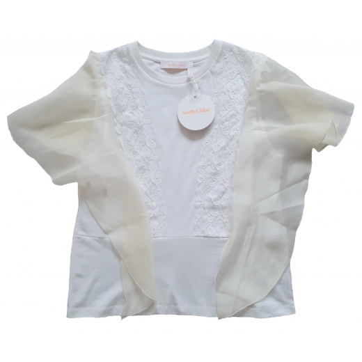 See by Chloé Lace Cotton Blend Top , nowy M-L