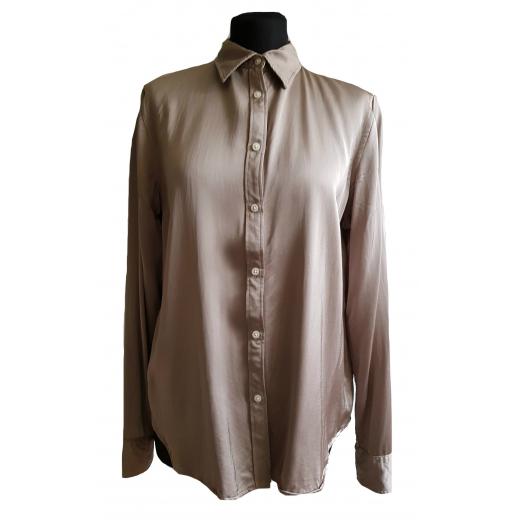Koszula srebrna beżowa brązowa satyna na guziki Lauren Ralph Lauren rozm. L/40