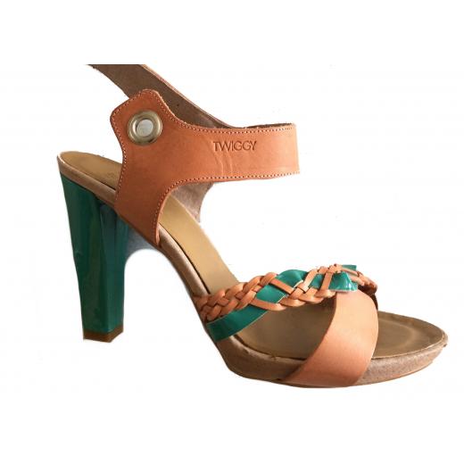 Skórzane sandałki na szpilce r. 39 hiszpańskiej marki Twiggy