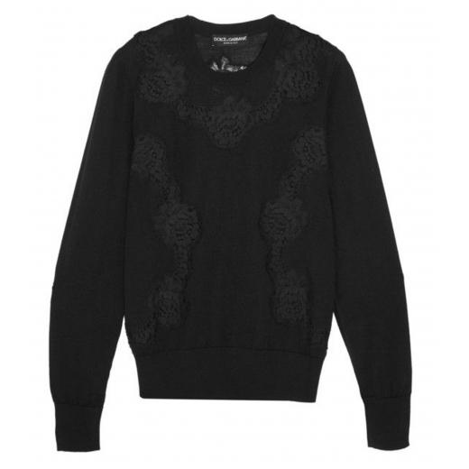 Dolce & Gabbana Lace-paneled cashmere-blend