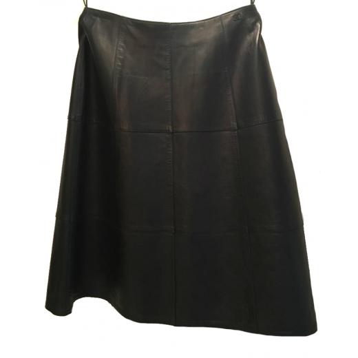 Granatowa skórzana spódnica Chanel