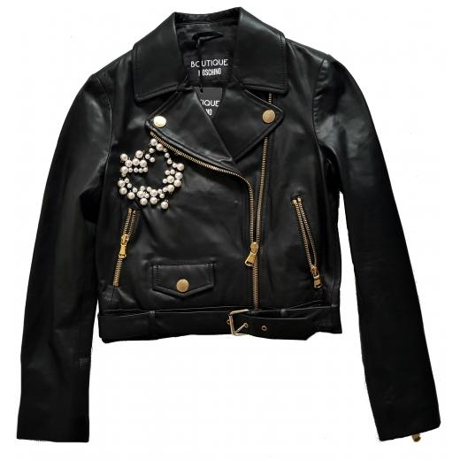 Boutique Moschino kurtka Moto Jacket skóra 34/36