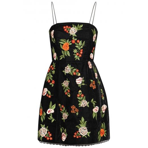 Alice + Olivia aksamitna haftowana sukienka S-M