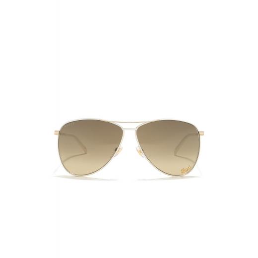 Gucci White Gold Aviator GG0502 Sunglasses