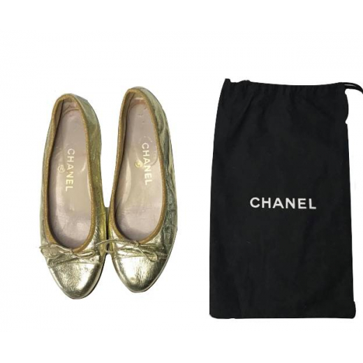 Złote vintage baletki Chanel