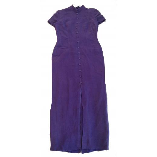 fioletowa jedwabna sukienka Dana Buchman