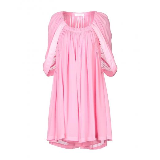 CHLOE Short sweet pink dress, jedwab, nowa XS-S