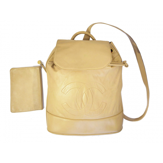 Chanel plecak logo cc z pochette beżowa skóra