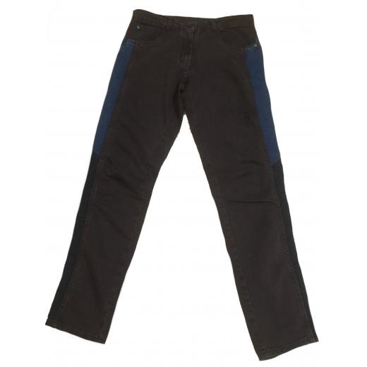 Czarne jeansy z granatowo - niebieskimi wstawkami