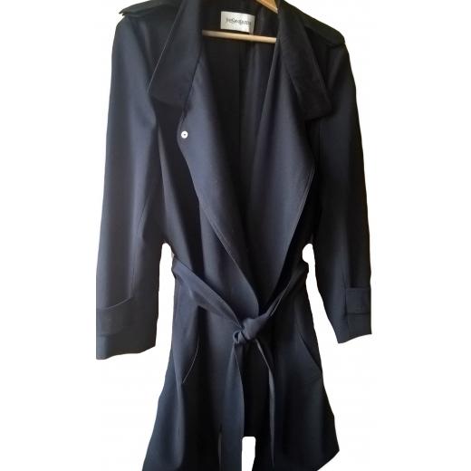 Czarny płaszcz/ trencz