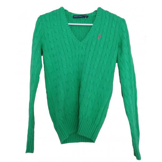 Zielony sweter warkocz Ralph Lauren Sport